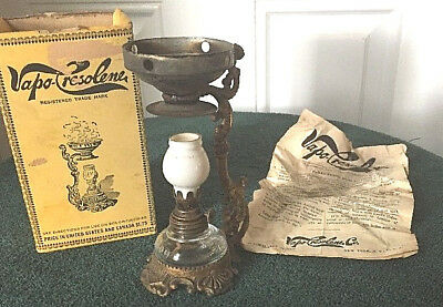ANTIQUE VAPO-CRESOLENE KEROSENE LAMP VAPORIZER and ORIGINAL BOX