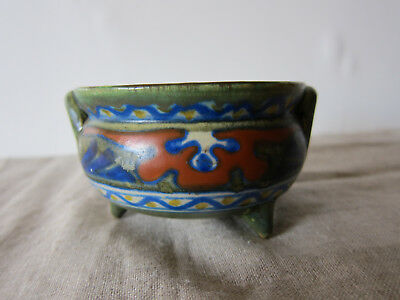 """Gouda art pottery """"Candia"""" small footed bowl made in Holland"""