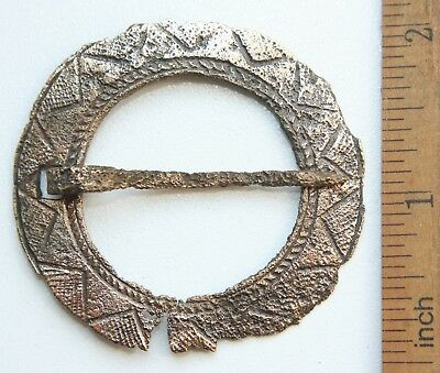 Ancient Old Ornament Bronze Fibula Brooch (MAY55)