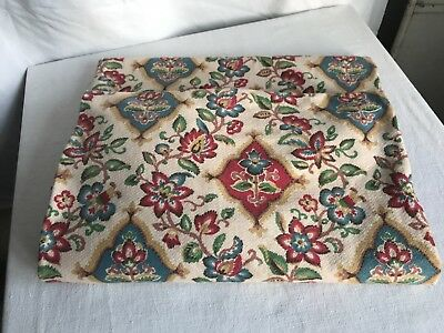 "19C Antique Fabric Mattress Cover French Cretonne Textile Jacobean Style 67""x28"""