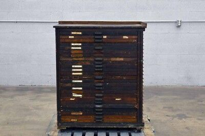Vintage Hamilton Printers Type Case Cabinet 24 Drawers 1/2 Cabinet