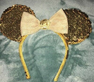 Disney World parks 50th anniversary Minnie Mouse gold sequin ears headband