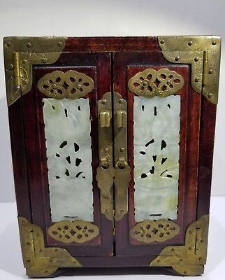 Vintage Antique Asian Wood & Brass Jewelry Box with Jade Inserts