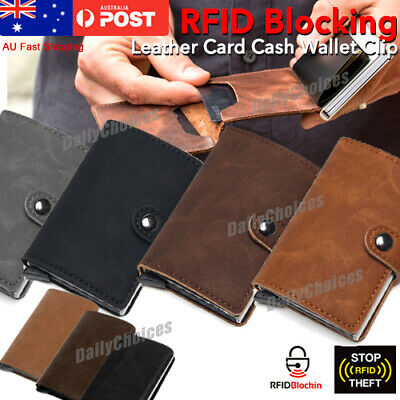 Genuine Leather Credit Card Holder Money cash Wallet Clip RFID Blocking Purse AU