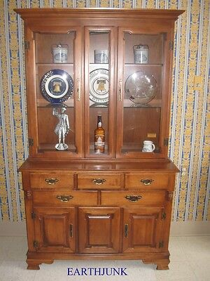 """Tell City Hard Rock Maple Crown Bubble and Flat Full Glass 44"""" China Hutch"""