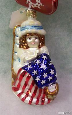 New SLAVIC TREASURES RETIRED GLASS ORNAMENT-BETSY'S STITCH (Patriotic) 2002