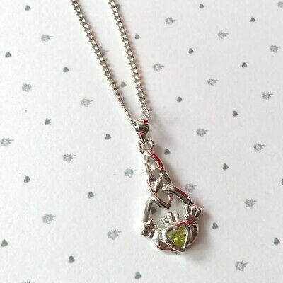New Celtic Trinity Silver Plated Claddagh Green Crystal Pendant Necklace Z0035