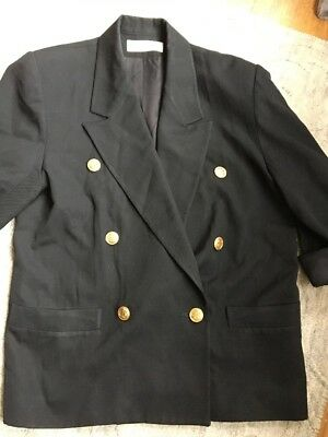 Christian Dior 80s Vintage Black Women's Blazer Gold Buttons Double Breasted 8