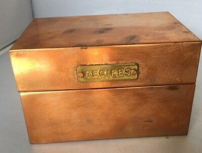 "Copper Recipe Box with Exterior Brass ""Recipes"" Plate"