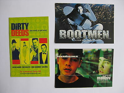 DIRTY DEEDS, BOOTMEN, MALLBOY Orig Australian movie postcards Bryan Brown
