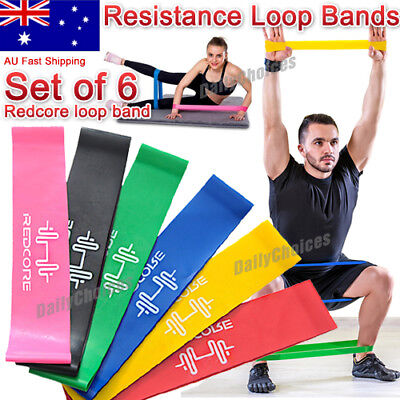 6Pcs Heavy Duty Resistance Band Loop Power Gym Fitness Exercise Yoga Workout