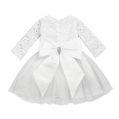 Baby Flower Girls Dress Long Sleeves Lace Princess Tutu Wedding Party Gown+Bow