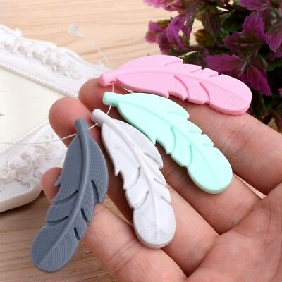 Nursing Silicone Feather Pendant Baby Teether Soother Chew Toy Teething Necklace