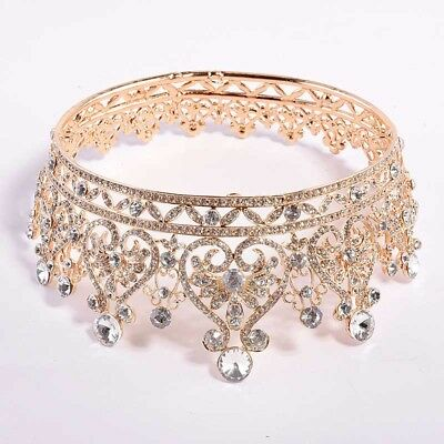 Full Circle Rhinestones Queen Large Crown Wedding Bridal Hair Accessories Tiaras