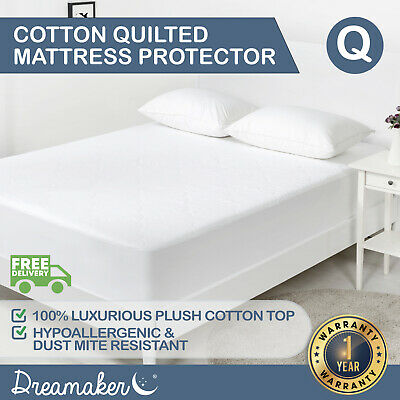 QUEEN 180 GSM QUILTED COTTON FILLED MATTRESS PROTECTOR Cover Soft Loft Fitted