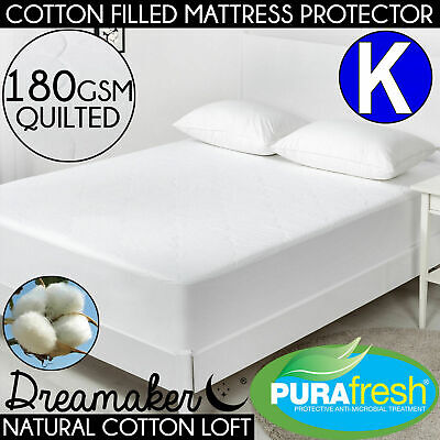 KING 180 GSM QUILTED COTTON FILLED MATTRESS PROTECTOR Cover Soft Loft Fitted