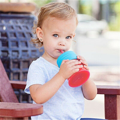 Baby Toddler Anti-choke Silicone Safe Mug Lid Straw Spill-Proof Cup Cover