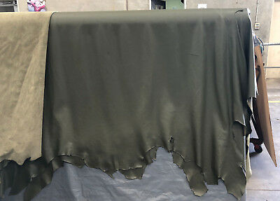 Olive Leather Upholostery,  Full- Hides, Full-Grain,