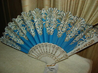 GORGEOUS FOLDING HAND FAN: BLUE AND WHITE WITH GLITTERING GOLDEN TRIM: NEW w/TAG
