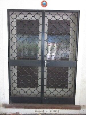 SECURITY DOORS - BLACK METAL ART DECO STYLE WITH FRAME NO KEY, now removed, 8t