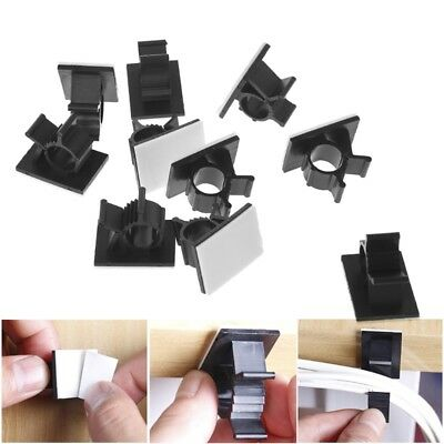 10x Cable Clips Adhesive Cord Management Organizer 7.9-10.3mm Wire Holder Clamp