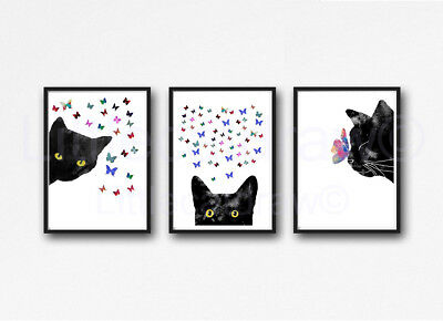 Black Cats With Butterflies Set of 3 Watercolour Painting PRINT 8x10 Wall Art