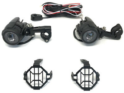30W Motorbike Spotlights + Wiring & Switch Kit for Adventure Bike Quad Trike ATV