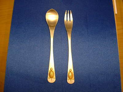 800 Fine Silver Fork & Spoon W/gold Turtle! Modernistic & Very Unusual!
