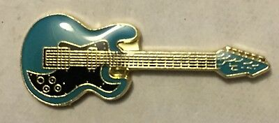 Blue Electric Guitar Lapel tie pin badge hat Rock Punk Blues Country Music