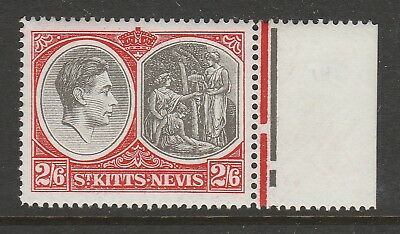 ST KITTS 1938-50 2/6d BLACK & SCARLET CHALKY PERF 14 SG 76a MNH.