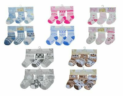 Baby 3 Pack Socks Boys Girls Newborn Cotton Cute Soft Colourful Unisex New
