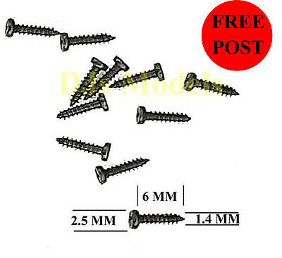 """Self tapping screws to fit Kadee couplers 15/64"""" 6mm long 1.4mm dia (Pkt of 10)"""