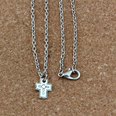 4pcs Ancient silver small Cross Charm Pendant Necklaces 18 inches Chains Jewelry