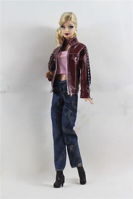 3 PCS Set Fashion Outfit Jacket Top+vest+jean Suit FOR Barbie Doll Clothes A2