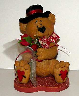 Teddy Bear figurine Figure Statue With Hat Sitting On Heart Love Valentines Day