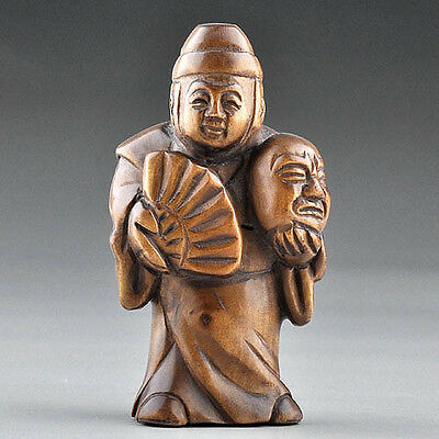 "1940's Japanese handmade Boxwood Wood Netsuke ""Geisha"" Figurine Carving"