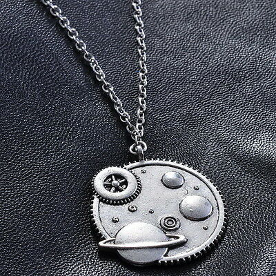 Free 1pcs Tibetan silver Round Gear The universe chain Charm Pendant Necklace