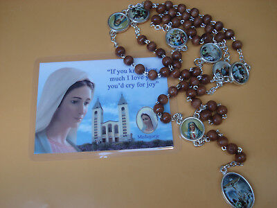Rosary Our Lady Of The Seven Sorrows Wood Beads Mater Dolorosa + Gift holy Card