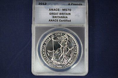 2012 Great Britain Silver Britannia 2 Pounds - ANACS MS70