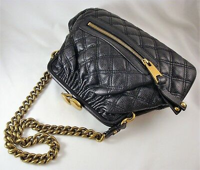 03b7df5ad5f MARC JACOBS Quilted Black Leather STAM Frame Bag Large Kiss-Clasp & Chain  Strap