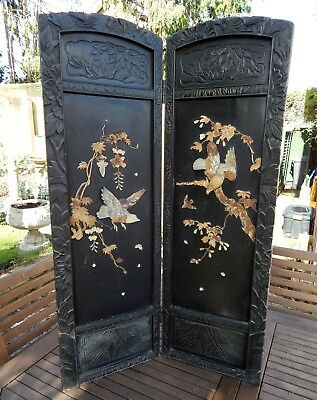 Antique Oriental Ebonised Table / Fire Screen Mother of Pearl Applied Decoration