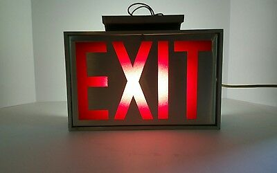 Vintage/Retro Aluminum Finish Fluorescent Exit Sign-Commercial/Industrial Grade!