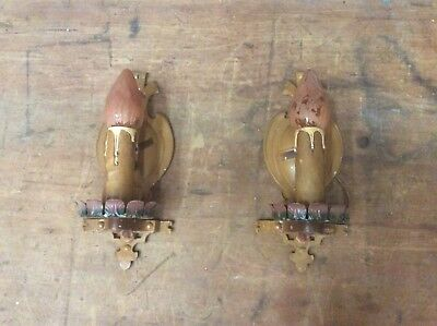 🔥 NICE Pair ANTIQUE Cast ALUMI WALL SCONCES, Vintage Candle-Style
