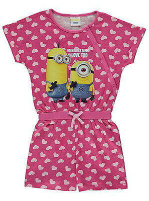 Girls Pyjamas Despicable Me Minions Short Playsuit One Piece New