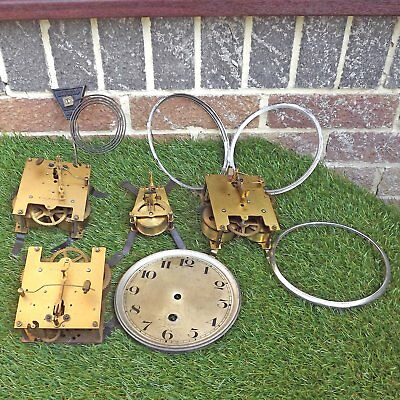 Collection 4 Clock Movements, Smiths Enfield Gong, Clock Door, Dial Etc