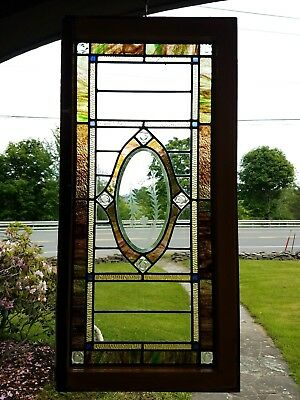 Antique Beveled Stained Leaded And Cut Glass Transom Window