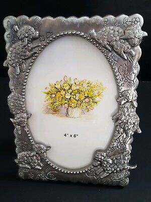 """Pewter Lamb Picture Frame Holds 4x6""""  Raised 3D Effect"""