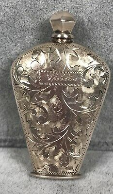 Antique Sterling Perfume Bottle - Hand Chased Floral Design - Cap w/ Applicator