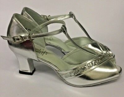 "WIDE Fitting Ballroom Shoes MINERVA by RV- Silver 2.2"" Heel Size 4, 4.5, 7 & 7.5"