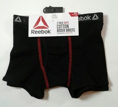 Boys Reebok 2 Pack Tag Free Cotton Boxer Briefs Size Medium 8-10 (3156)